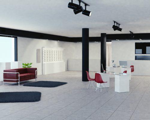 rendering 3d interni ottica marocco